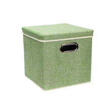 new customized LINEN storage bins portable fabric double foldable storage box with handle