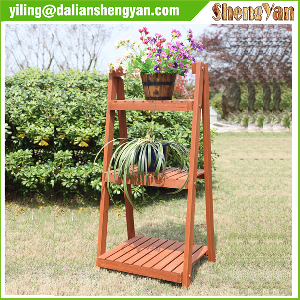 Hot Selling Simple Modern Outdoor Garden Antique Wooden Plant Stand