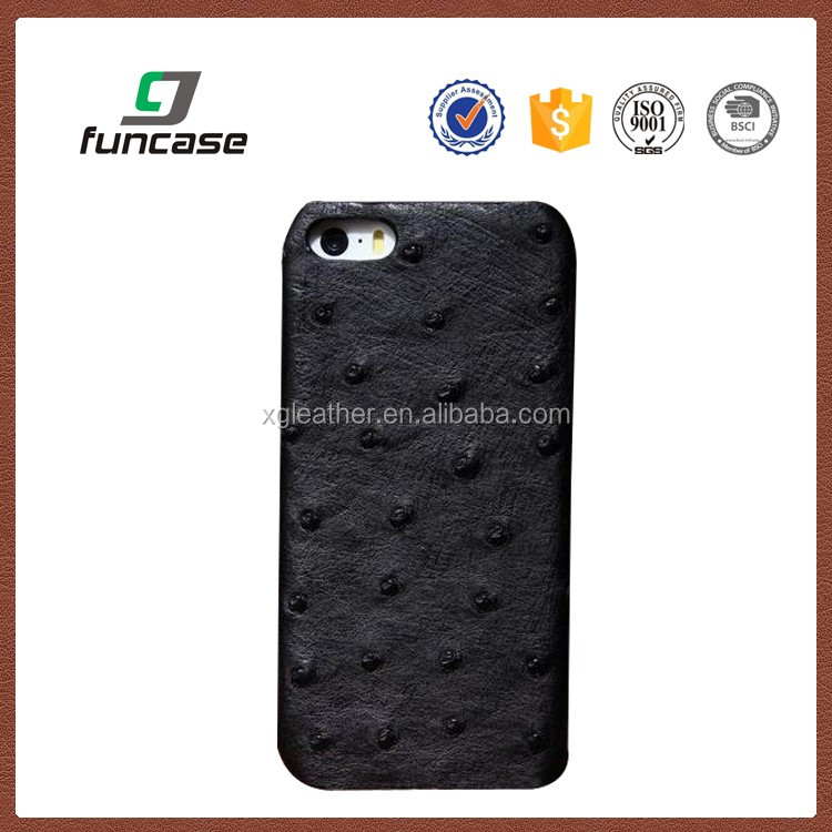 Handmade Genuine Ostrich Leather Vertical Sleeve Carrying Case for Apple iPhone 5