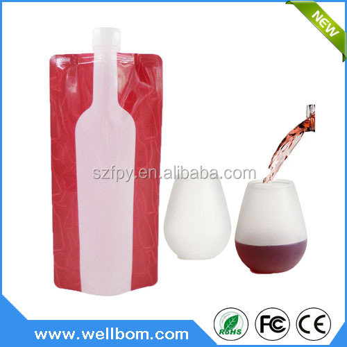 Wine Walker Drinking Unbreakable Outdoor Alcohol Set -Silicone Party Glasses & Foldable Plastic Bottle Flask