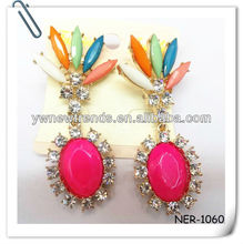 2013 Fashion Colorful Acrylic ahd Crystal Stones Earring
