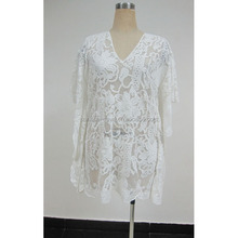 latest fashion western ladies mesh embroidery beach cover casual kaftan