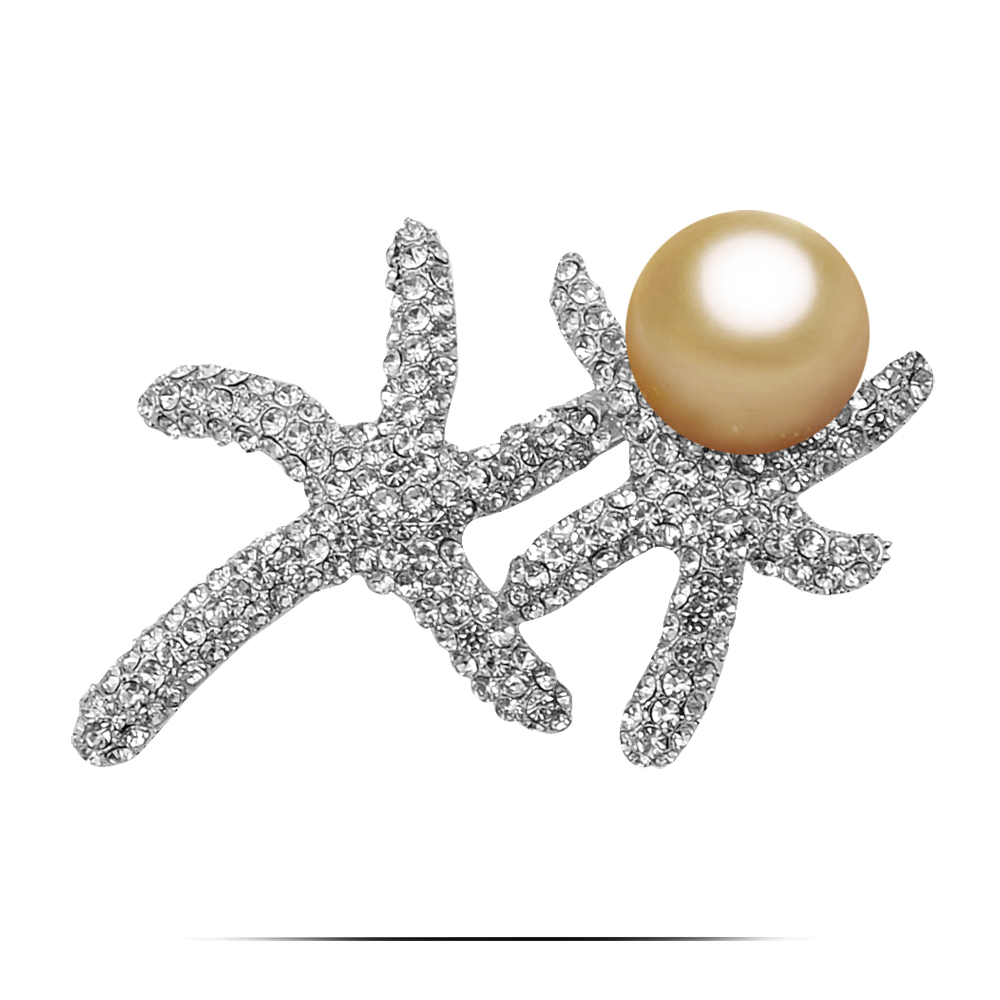 Exquisite Single Big Ball Pearl Set Channel Crystal Double Starfish Women Suits Collar Brooches