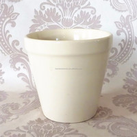 [ ZIBO HAODE CERAMICS]manufacturer supply ECO-friendly glazed Japanese style light cream ceramic flower pot for indoor plant