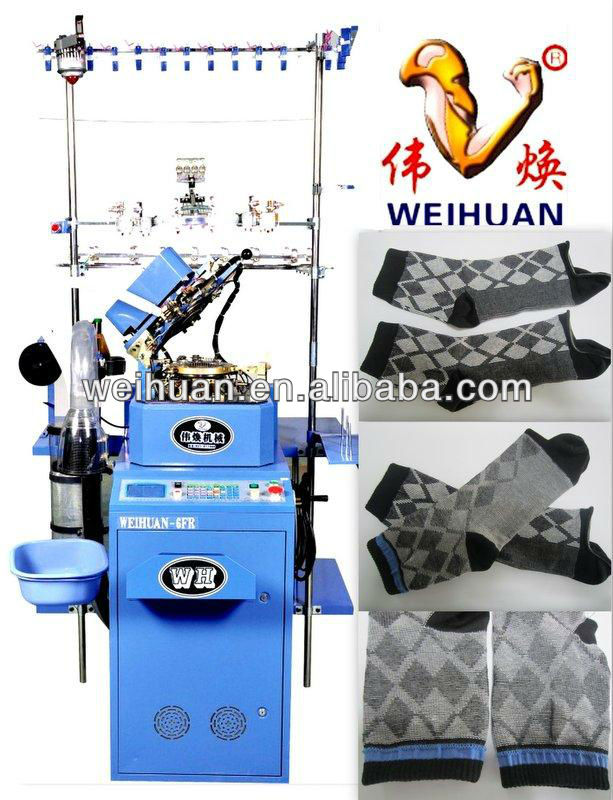 automatic copy double cylinder socks knitting machine (WH-6F-A3)