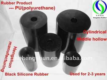 Black Cylinder with Hollow SI Rubber Product---Polyurethane