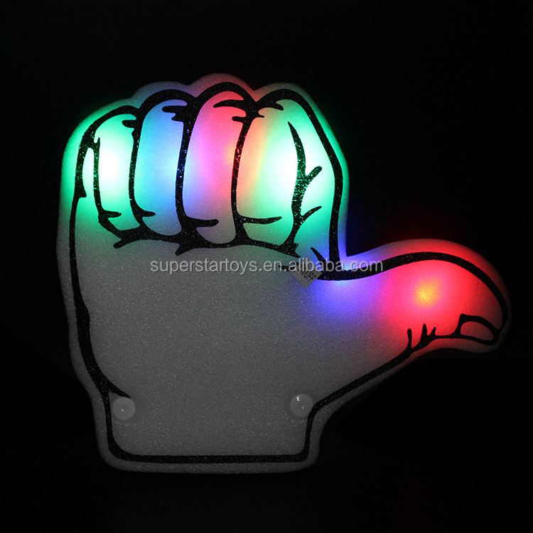 3171220-102 world cup LED bubble glow stick party sponge finger toys custom cheering flashing foam finger
