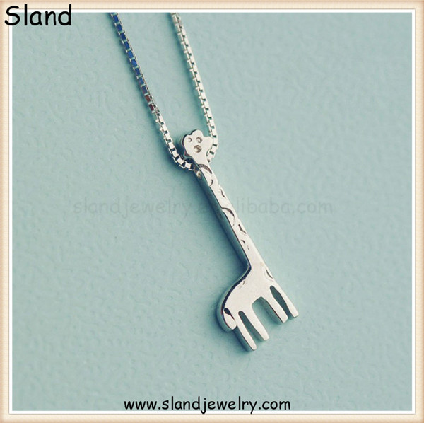 Pretty design animal shape sterling silver owl necklace, cute giraffe pendant for necklaces