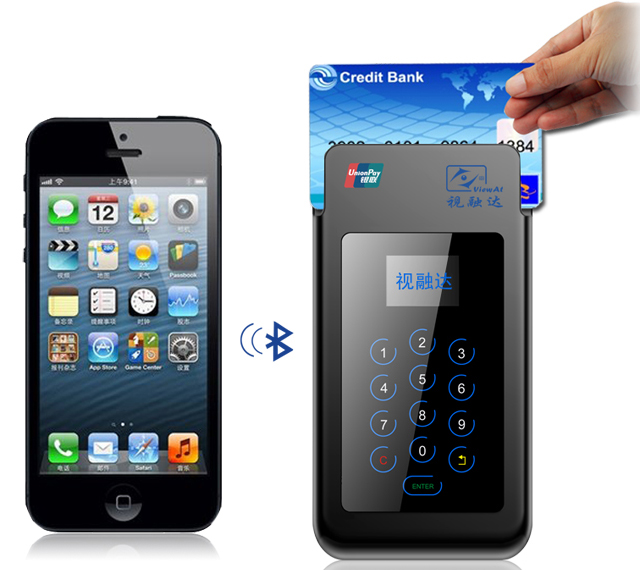 Bluetooth PINPAD mPOS terminal, with PCI/EMV Approval,Bluetooth/USB connection MSR/ICCR/RFID features