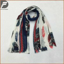 Hijab Scarves Fancy Color Long Style Fashion Brand Trendy Printed Feather Design Lady Women Slub Cotton Scarf
