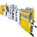 vacuum transfer high speed full automatic flexo printer slotter die-cutter&folder gluer strapping production line