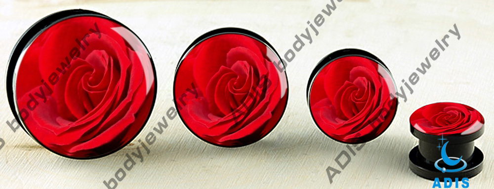 Unique Logos epoxy wholesale custom fashion uv acrylic ear plugs body jewelry