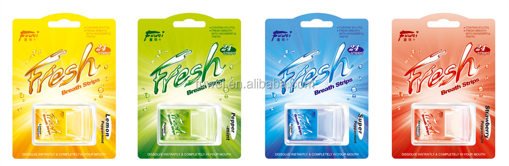Sugar Free oral fresh breath paper mint edible Strips