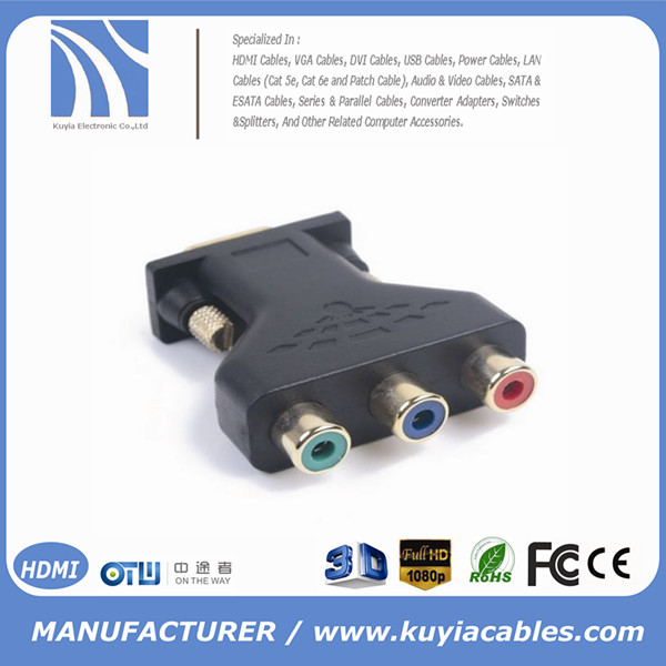 Component RGB 3 RCA Female To D-sub 15-Pin VGA Video Adapter