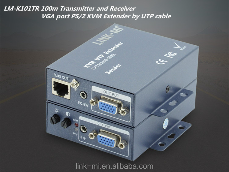 LINK-MI LM-K101TR 100m KVM Extender Over CAT5E/6 Cable transmitter and receiver VGA Video and PS2 Signal