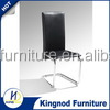 Malaysia modern design luxury wholesale hotel restaurant black white pu leather chromed metal leg dining room table chair