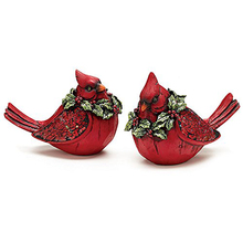 Decorative accent resin bird 2 piece christmas bird figurines