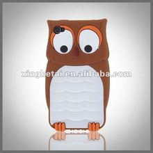 New Cute Owl Design 3D Silicon Animal Case for Iphone 4 4G 4S