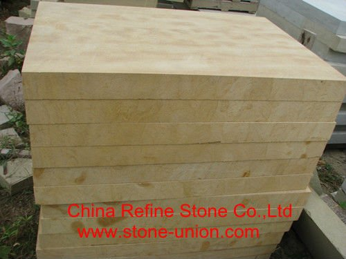 Machine-cut yellow limestone