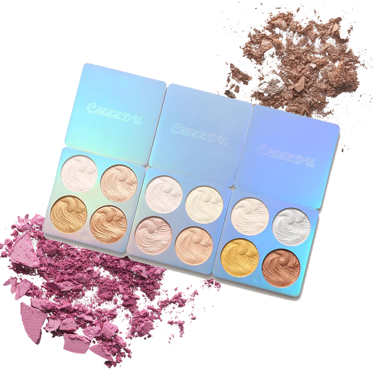 Wholesale price flexible moq makeup private label waterproof 4 color contour highlighter makeup