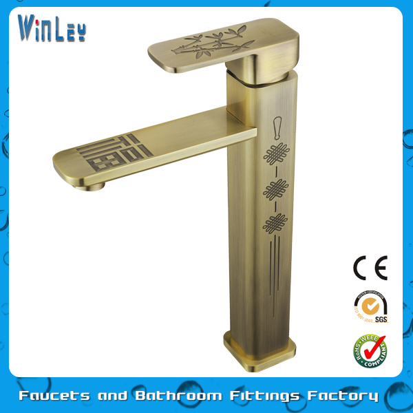 Single Lever Antique Brass Luxury Tall Bronze Basin Tap Faucet WF20060