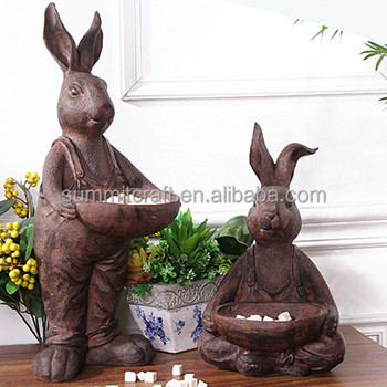 Resin rabbit statues decoration Container