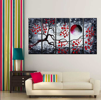 Hand-painted Wall Art Red Black Lines/Abstract Landscape Oil Painting on Canvas/Decoration Canvas Painting for Hotel