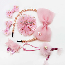 Embroidered Ribbon Hair Bow Girl Hair Accessories Gift Set