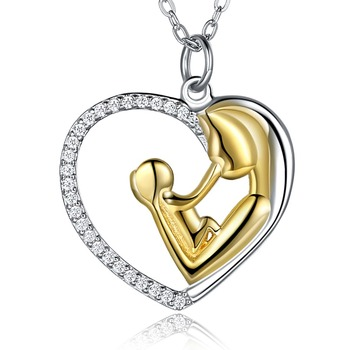 NL00029 WT 925 silver heart pendant necklace chain romantic love heart jewelry for girl