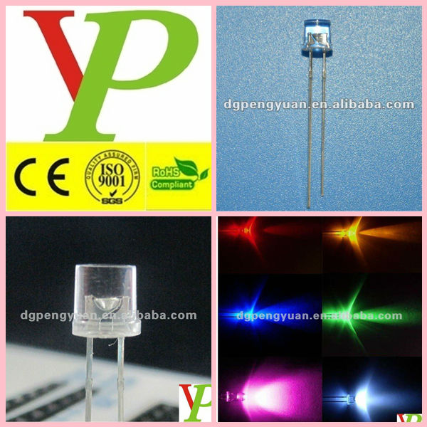 low price super high bright 5mm flat top warm white led(CE&RoHS)