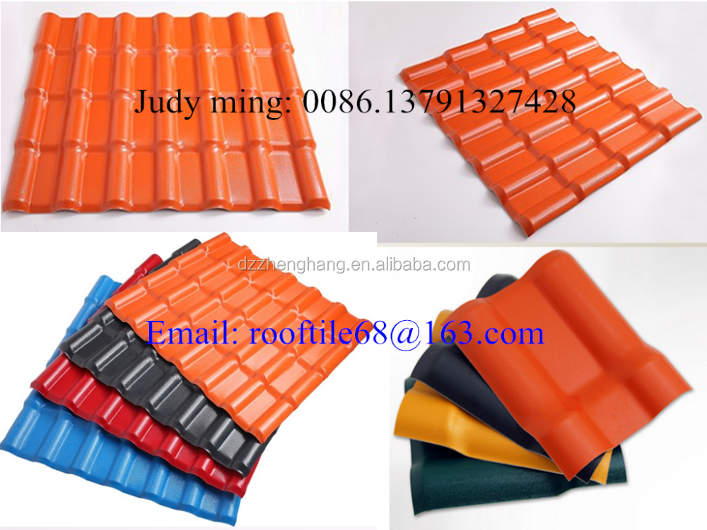 Light Weight 2.5mm-3.0mm Thickness Plastic Spanish Style Roof Tiles Prices