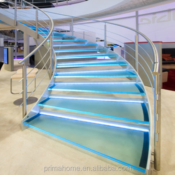 Low Cost With High Safty Curved Staircase Glass Stairs Price
