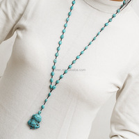 ST0487 Unique Design Turquoise Necklace Large Turquoise Pendant 31.5 Inches long Sweater Chain Necklace