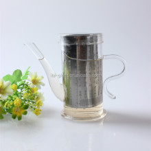 130ml food grade mini clear pyrex glass tea pot set with warmer empty unique handle glass coffee maker with filter manufacturer
