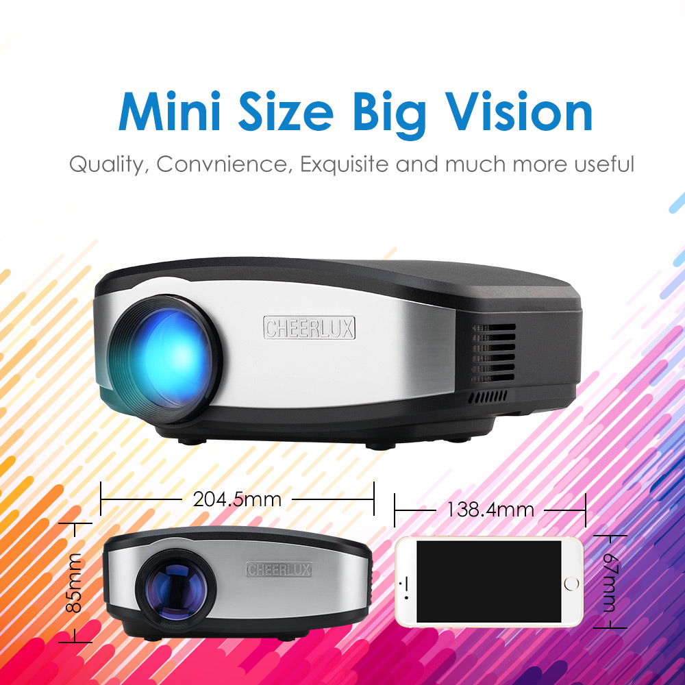 New Arrival best Cheerlux C6 digital mini projector led beamer lcd proyector with HDMI USB native 800*480 1200 lumens