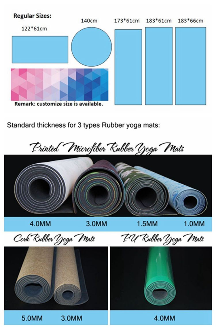 2017 wholesale anti slip natural rubber organic custom print yoga mat