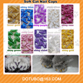 Colorful Latest Shining Color Mix In One Bag Antiscratch Silicone Soft Animal Cat Nail Caps/Pet Claw Cover With Free Glue