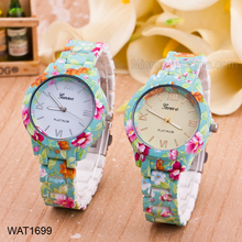 Latest Fancy Flower Printed Silicon Wrist Watches For Girls
