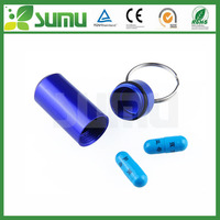 wholesale custom promotional aluminium mini pill holder keychain waterproof Container Metal Pill Box