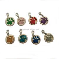 Round Paw Dog Pet ID Tags Alloy Metal Glitter Enamel Dog Tag