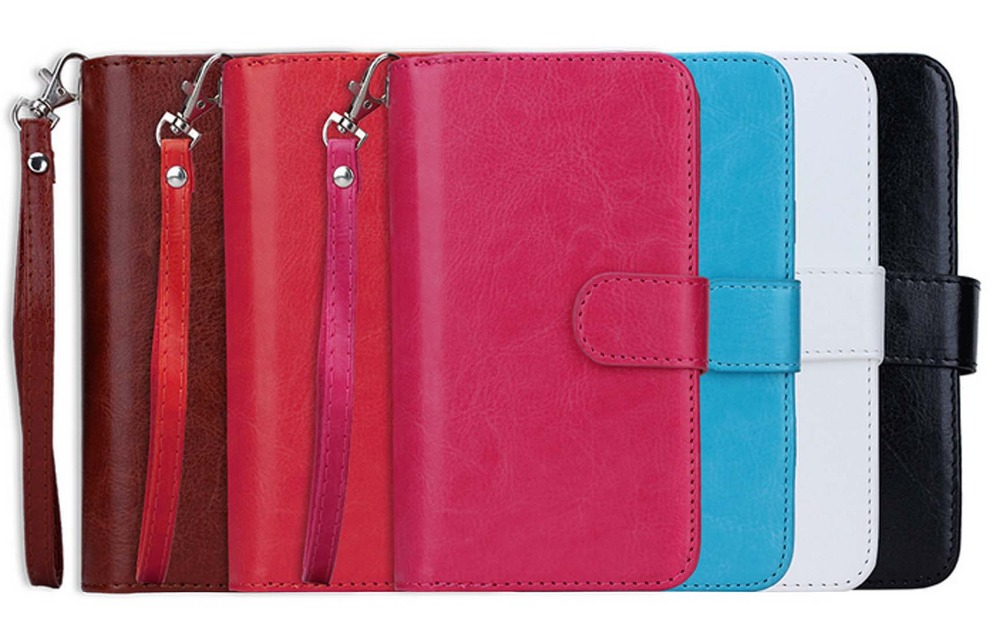2 in1 fission multi-card slot wallet folio PU leather Magnetic Detachable Slim Back Cover Card Holder Wrist Strap for SAMSUNG S5