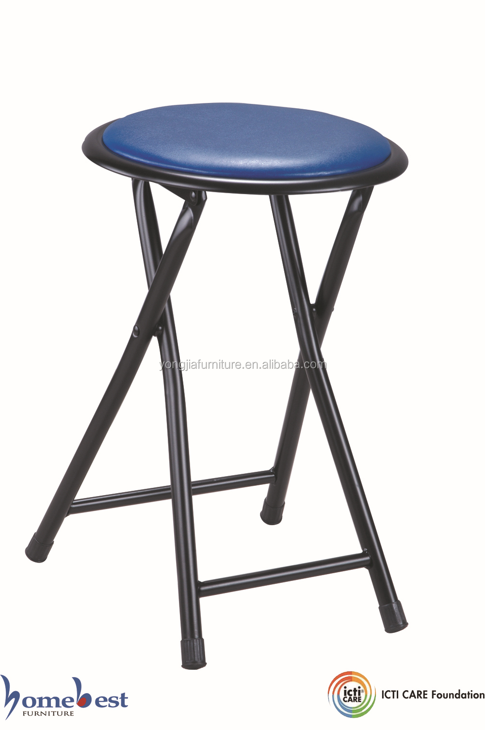 Soft Padded Folding Stool Round Chair Metal Frame Buy