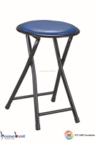 Soft Padded Folding Stool Round Chair Metal Frame