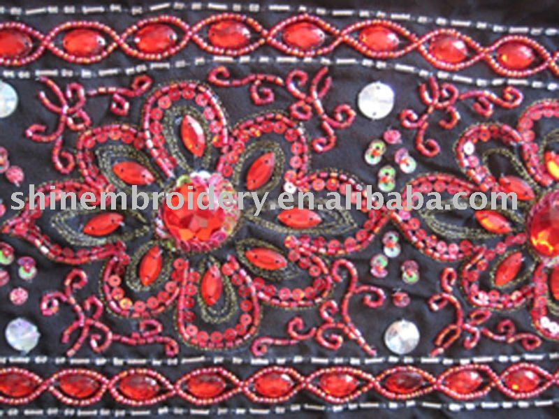 FULLY HANDWORK BEADED CHIFFON FABRIC FOR DRESSES