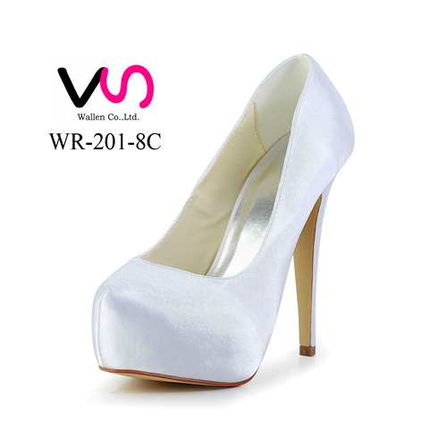 sexy high heel pump platform dyeable satin handmade wholesale bridal shoes with Rose decoration