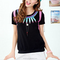 alibaba china fashion special print lipstick neck short sleeve for girl medium T-shirt