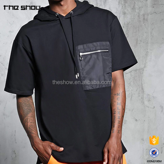 OEM service short sleeve french terry hoodie with zipper chest pocket and can custom your brand logo