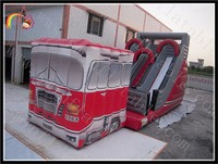 Inflatable bus slide&bouncer Inflatable Bus Jump Slide Combo