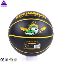 Loe price fashion black PU leather with pinhole and butyl bladder size 7 basketball