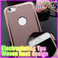 2016 latest design woven pattern electroplate mobile phone covers for iphone